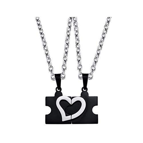 Siyushop stunning his & hers puzzle heart matching couples collana con pendente - black puzzle creative love necklace