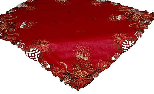Espamira Tischdecke 85x85 cm Eckig WEIHNACHTEN Rot Kerzen Grün Weiß Gold gestickt