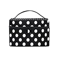 MyDaily Cosmetic Bag Classic Black White Polka Dot Women Makeup Case Travel Storage Organizer