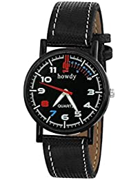 Howdy Black Dial With Black Leather Strap Analog Watch