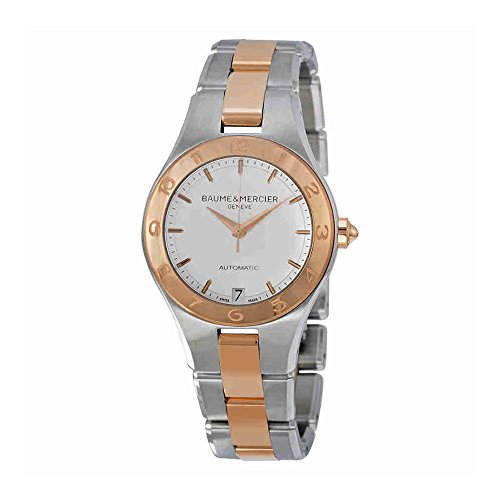Baume y Mercier Linea blanco Dial Acero inoxidable Acero y 18kt Rose Oro Damas Reloj