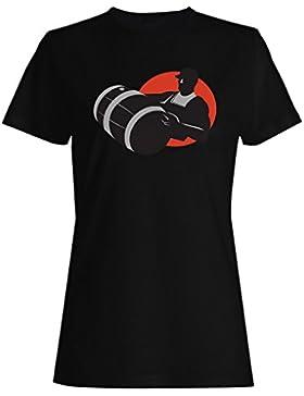 Hombre, llevando, whisky, vino, barril, regalo camiseta de las mujeres d816f
