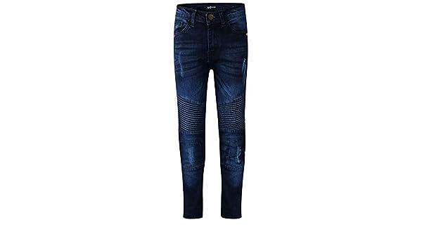 A2Z 4 Kids/® Bambini Ragazzi Elastico Jeans Scuro Blu Progettista Strappato Ginocchio Drappo Pannello Denim Pantaloni Moda Sottile Fit Pantaloni Et/á 5-13 Anni