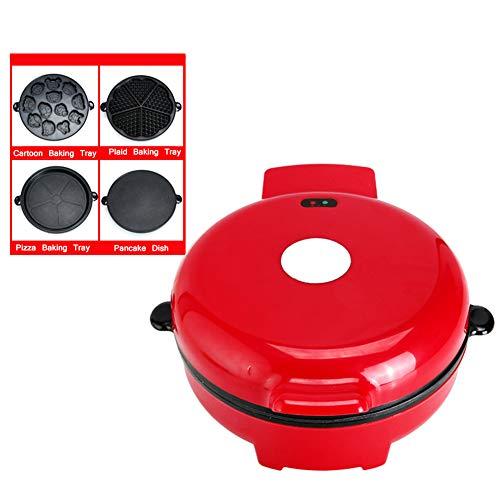 Domestico multifunzione Waffle Maker, Completamente automatico Macchina per dolci Teglia da forno elettrica, Crepe Machine, 700W Riscaldamento bilaterale, Scheda antiaderente, Con 4 teglie