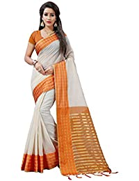 BLF Women's Cotton Silk Orange Color Saree With Blouse Piece