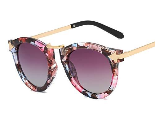 Pfeilspitze Sonnenbrille Hipster getönte Sonnenbrille Retro Polarisator Aolly Outdoor Seaside Sonnencreme UV400 Fashion Style, Fahren Brille (Color : Floral Fading Gray)