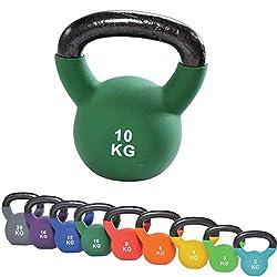 top | vit® Kettlebell Kettle.Bell, Kugelhantel, Handgewicht aus massivem Guss mit Vinylüberzug, grün, 10kg