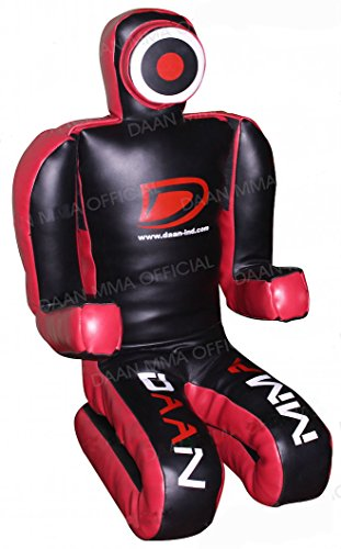 DAAN MMA Bjj MMA Grappling Dummy 177,8 cm (XL Version) Synthetik Leder, schwarz/rot, xl (Dummy Grappling Mma)