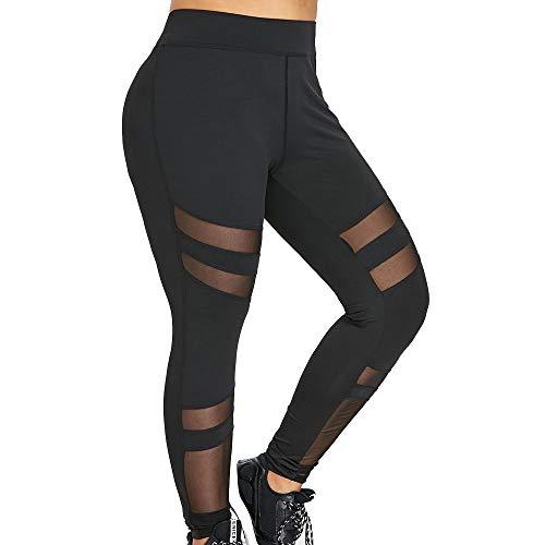 Damen Oversize Hose Mesh Patchwork Stretch Sporthosen Fitnesshose Yoga Leggings Training Hose Laufhose Strumpfhosen große Größe L-5XL by WWricotta