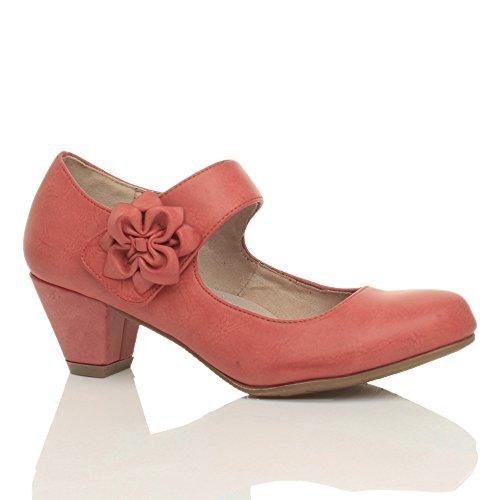 Damen Mitte Blockabsatz Lederfutter Komfort Blume Mary Jane Schuhe Pumps Größe Hellrot