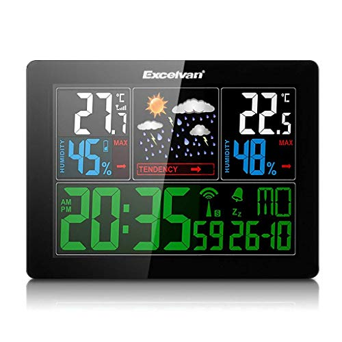 Excelvan Uhr und Wetterstation mit LED-Display, geeignet im Innenbereich und Außenbereich, ohne Kabel mit externem Sensor (Barometer) mit Alarm