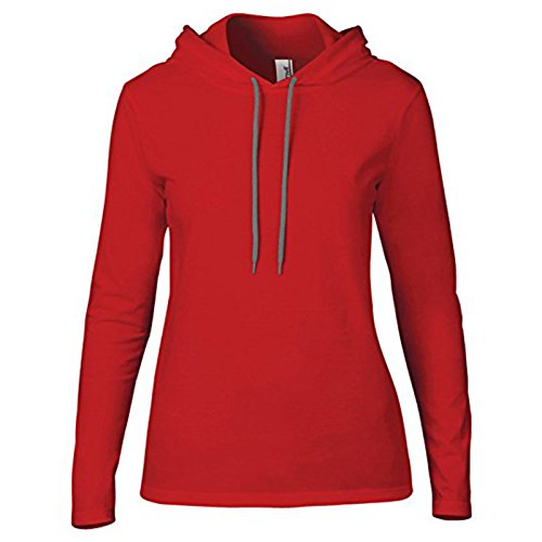 Anvil Damen Modern Kapuzenpullover Gr. X-Large, Red/ Dark Grey (Flannel Mens Jacket Hooded)