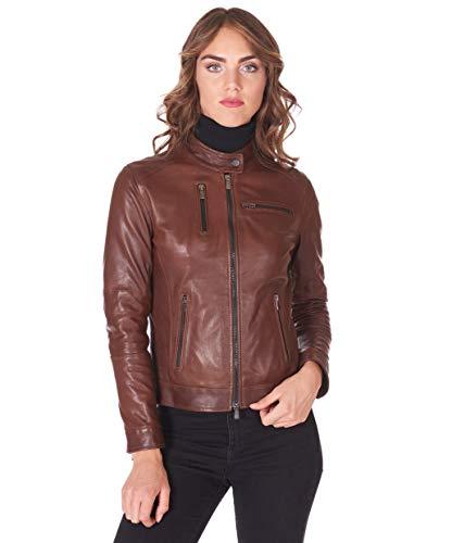 D'Arienzo Lederjacke für Damen braun Vintage Made in Italy echtes Leder Jacke Motorradjacke, Braun L