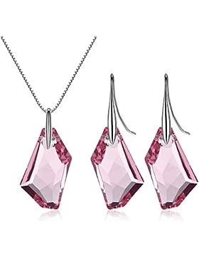 GoSparking rosa Kristall Sterling Silber Anhänger Ohrringe mit österreichischen Kristall für Frauen Set