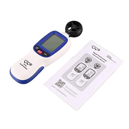 Kaemma WINTACT WT82 Digitalanemometer Datenhaltetemperatur/Windgeschwindigkeit Geschwindigkeitsanemometer Anemograph Automatische Abschaltung (Farbe: weiß & blau)