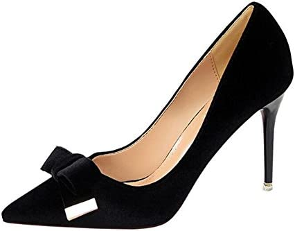 YIXINY Zapatos de tacón Dulce Zapatos De Mujer Zapatos De Tacón Alto Scrub Bowknot Stiletto Talón 9cm Primavera...