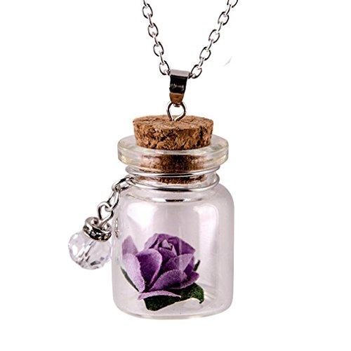 in der dunklen Blume Glas winzigen Flasche Fläschchen Halskette Anhänger Kette (Lila) ()