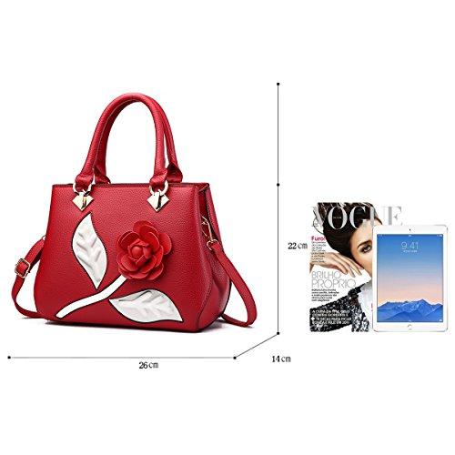 Tisdaini Borsa del raccoglitore della borsa elegante del fiore del sacchetto di spalla della borsa delle donne vino rosso