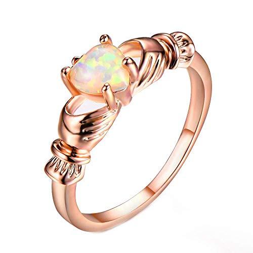ißes Gold überzogen Weißer Opal Claddagh Gestalten Verlobungsring Größe 62 (19.7) ()