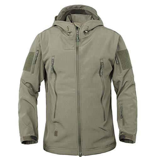 Baijiaye Giacca Militare Softshell da Uomo Outdoor Impermeabile Cappotto  Leggero Giacche con Cappuccio Sport Esterno Verde c9c75634ea92