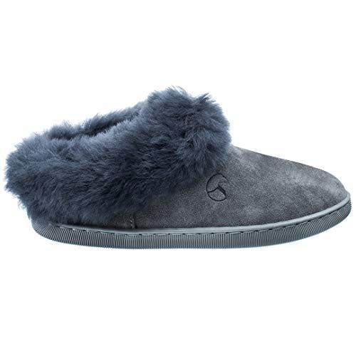 Estro Damen Hausschuhe Pantoffeln Damen mit Wolle Wärme Leder Winter Lammfellhausschuhe AMIE (38, Grau)