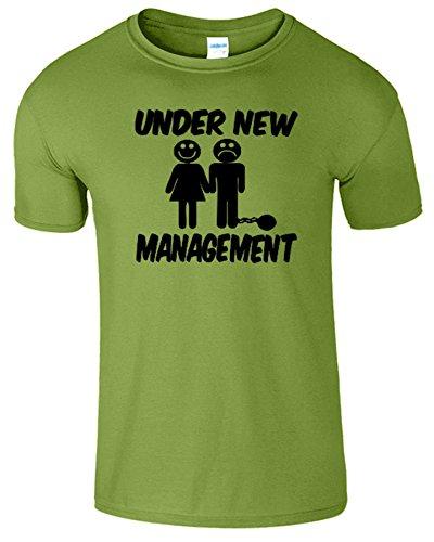 Under New Management Frauen Der Manner Damen Mens T-Shirt Kiwi / Schwarz Design