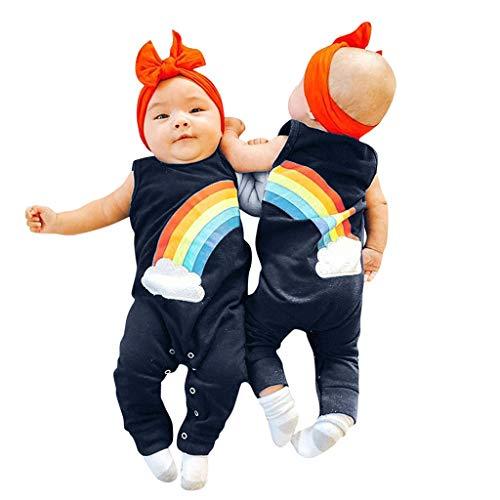 Jungen & Mädchen Ärmellose Westen Regenbogendruck Insgesamt Beiläufige Spielanzug Kleidung 3-24 Monate ()