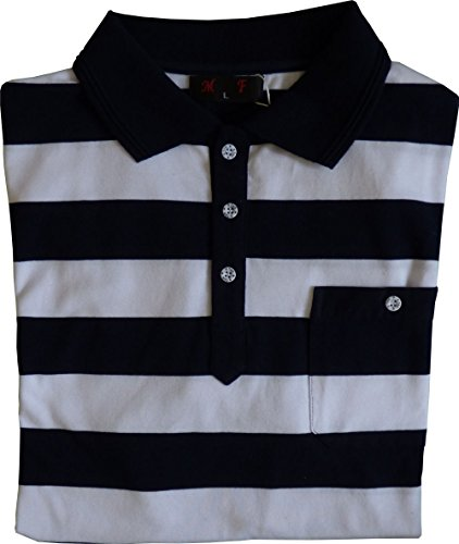 Herren Poloshirt Kragen Kurzarm Brusttasche Streifen Marine/Weiß