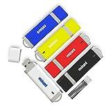Meinami 5er Pack 32GB USB Stick Kappe USB 2.0 Rot, Blau, Gelb, Schwarz, Weiß