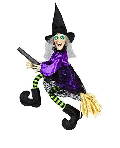 Widmann 01395 - sprechende Hexe auf Besen, mit leuchtenden Augen und strampelnden ()