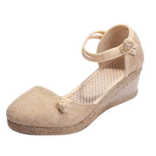 Makefortune-Schuhe Damen Damen Keilabsatz, Vintage Runde Zehe Sandalen mit hohem Absatz, geschlossene Zehe atmungsaktive Sommerschuhe Espadrilles Plus Size -