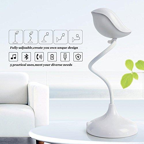Lámpara de mesa con Bluetooth estéreo Cuello de ganso flexible toque inteligente 3 brillos LED para Estudio Lectura Cuidado Especial los Ojos Con batería de litio carga USB fácil de llevar(Blanco)