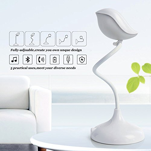 Lámpara mesa Bluetooth estéreo Cuello ganso flexible
