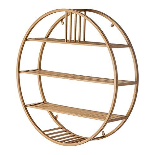 Organisieren Speicherschränke, Wand-Lagerregal Einheit Dekoration Gold Eisen Holz Bücherregal Schwimmgestell Wand montiert Rack (größe : 60x60cm) -