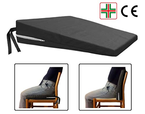 Comodissimo -nero- cuscino a cuneo ortopedico cuneiforme per una corretta postura supporto triangolo rialzo seduta sedia da ufficio sedile auto