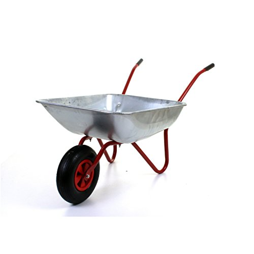 "41CL9OeN %2BL - BEST BUY# Marko Tools Red 65L Metal Heavy Duty Galvanised Wheelbarrow 12"" Pneumatic Inflatable Tyre Garden Reviews"