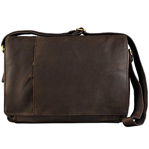 STILORD 'Elias' Ledertasche Herren Umhängetasche Unitasche Laptoptasche 15.6 Zoll Aktentasche Bürotasche Büffel Leder, Farbe:matt - Dunkelbraun