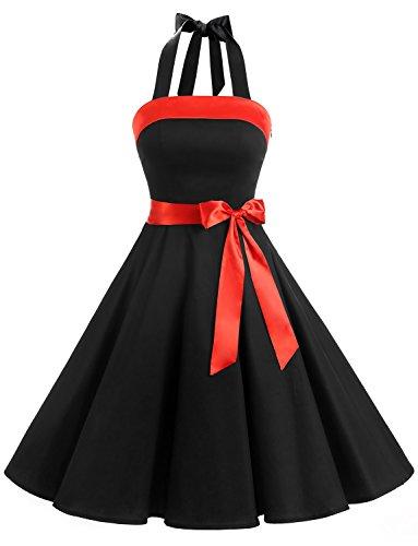 Find Dress Sexy Robe de Soirée Courte Vintage Robe année 40 50 60 Robe de Cocktail Décolleté au Dos Robe Rockabilly Halter Sans Manche avec Ceinture pour Anniversaire Party Noir