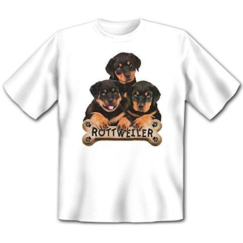 Hunde - Damen und Herren T-Shirt mit dem Motiv: Rottweilers with bone Größe: Farbe: weiss - von van Petersen Shirts Weiß