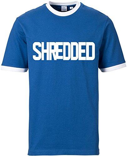 EZYshirt® Shredded Herren Rundhals Ringer T-Shirt Blau/Weiss/Weiss