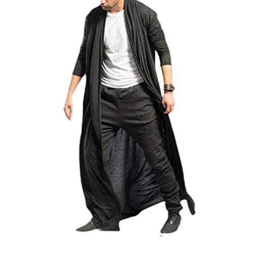 CuteRose Men's Cardigan Relaxed-Fit Solid Jacket Long Casual Trench Coat Black XS -