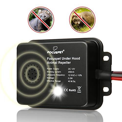 Focuspet Marderschreck Auto, Marderschutz mit LED Blitzlicht und Ultraschall Funktion 12 kHz Frequenz Marderabwehr Anschluss an 12V Autobatterie