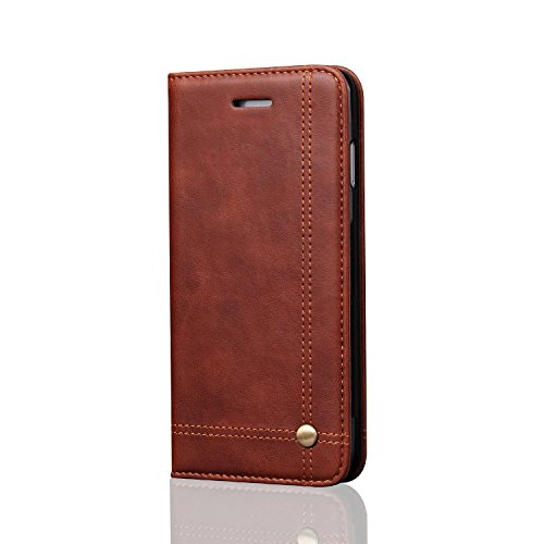 Quicksand Flip Cover For Apple Iphone 6s Plus Flip Cover Qin Series Leather Flip Cover For Apple Iphone 6s Plus Wallet Cases Book Cover Tpu Mobile Holder Mobile Stand Magnet Closure Brown