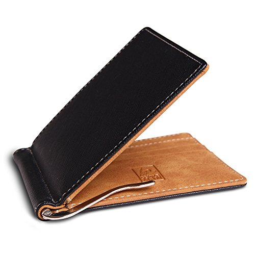 Kleiner Flacher Geldbeutel mit Geldklammer und Münzfach - Kunst Leder Geldbörse schwarz RFID-Schutz - Mini Portemonnaie Geldspange Herren - Minimalist Slim Wallet - Karten Etui (Arbeit Klammer)