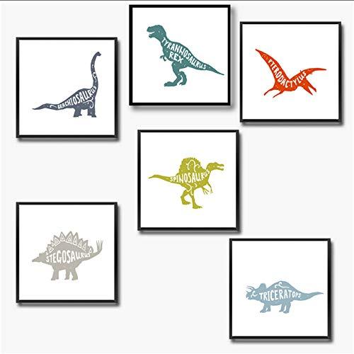 Wsxwga Dinosaurier Dekor Leinwand Malerei Junge Zimmer Wandkunst Bild Dinosaurier Leinwanddruck Und Poster Junge Kinderzimmer Kunst Dekorationen 30 * 30 Cm * 6 Stücke Kein Rahmen (Dinosaurier Dekor Zimmer)