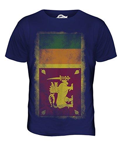 CandyMix Sri Lanka Verblichen Flagge Herren T Shirt Navy Blau