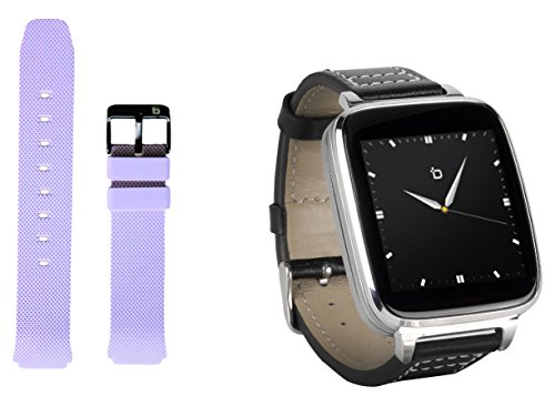 Bit Smart Watch for Apple/Android devices. Silver with leather strap. Bonus ash...