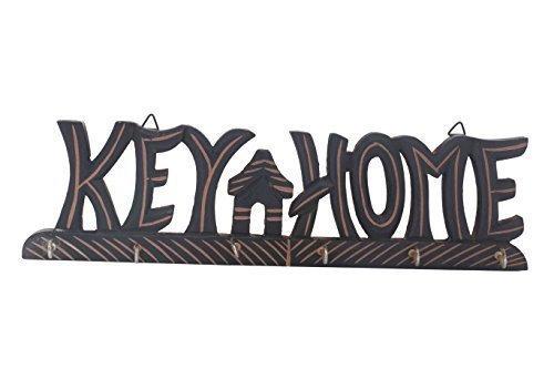 Cadeaux spéciaux sur la fête des mères Porte-clés en bois, avec laiton et Design décoratif Hanger Key, Bienvenue en forme, 6 Crochet clé,