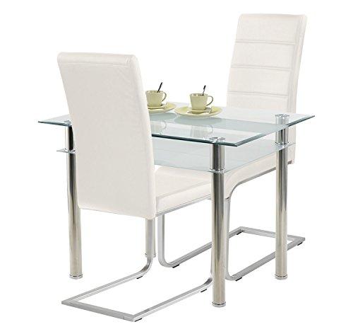 Agionda ® Esstisch Turin + Stuhlset Jan Piet ® 2er Satz hochwertiges PU Kunstleder in weiß (Kleiner Weißer Küchentisch Set)