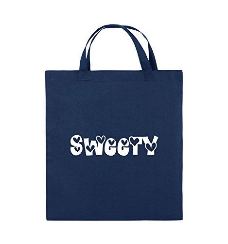 Comedy Bags - Sweety - HERZEN - Jutebeutel - kurze Henkel - 38x42cm - Farbe: Schwarz / Silber Navy / Weiss